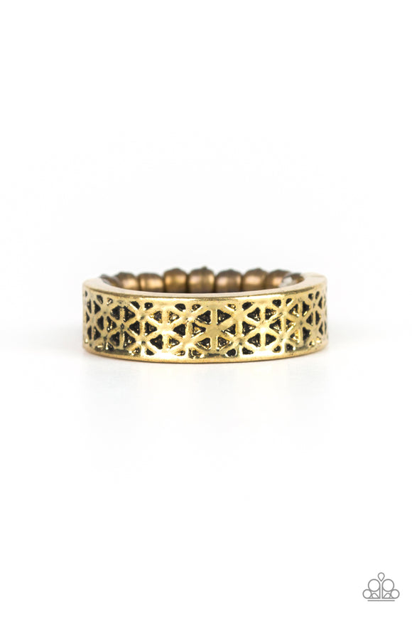 Paparazzi FLOWERBED and Board - Brass - Floral Pattern - Dainty Band Ring - Lauren's Bling $5.00 Paparazzi Jewelry Boutique