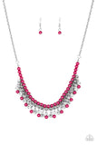 Paparazzi Future Fashionista - Pink Pearls - White Rhinestones - Necklace and matching Earrings - Lauren's Bling $5.00 Paparazzi Jewelry Boutique