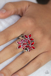 Paparazzi Gardenia Grandeur - Red Rhinestones - Trio of Flowers - Stretchy Band Ring - Lauren's Bling $5.00 Paparazzi Jewelry Boutique