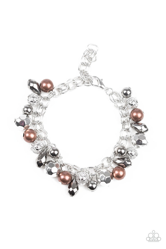 Paparazzi Invest In This - Silver - Faceted Copper, Gunmetal & Silver Beads - Adjustable Bracelet