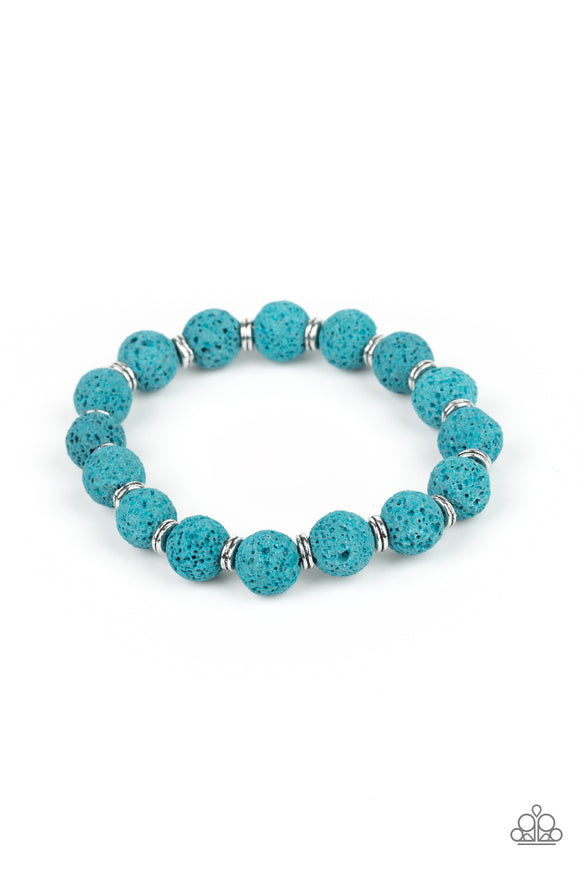 Paparazzi Luck - Blue - Earthy Lava Rock Beads - Stretchy Band Bracelet