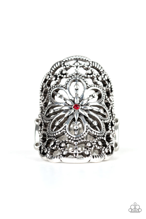 Paparazzi Majestic Mandala - Red Rhinestone - Floral Filigree - Ring - Lauren's Bling $5.00 Paparazzi Jewelry Boutique