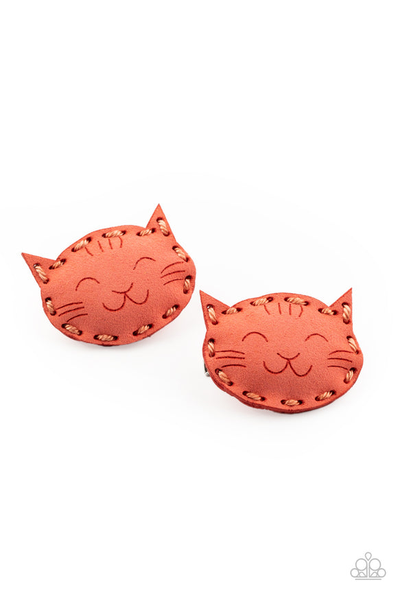 Paparazzi MEOW Youre Talking! - Orange - Coral Suede - Puffy Pair of Cat Hair Clips - Lauren's Bling $5.00 Paparazzi Jewelry Boutique