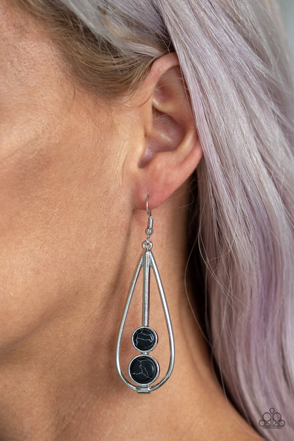 Paparazzi Natural Nova - Black Stones - Faux Marble Finish - Silver Teardrop Earrings - Lauren's Bling $5.00 Paparazzi Jewelry Boutique