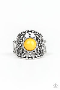 Paparazzi On An Adventure - Yellow Bead - Silver Studded Filigree - Ring - Lauren's Bling $5.00 Paparazzi Jewelry Boutique