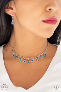 Paparazzi Popstar Party - Blue Rhinestones - Silver Choker Necklace and matching Earrings