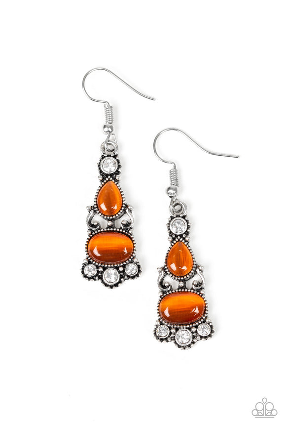 Paparazzi Push Your LUXE - Orange Moonstone - White Rhinestones Earrings
