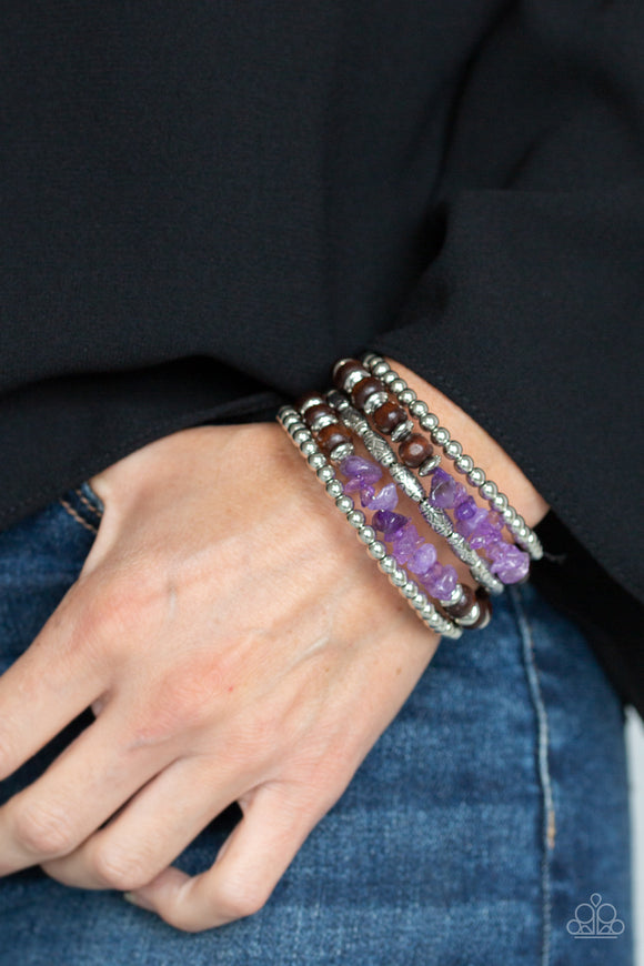 Paparazzi Soul Searchin - Purple - Stones, Wooden Beads - Coiled Wire Infinity Wrap - Bracelet