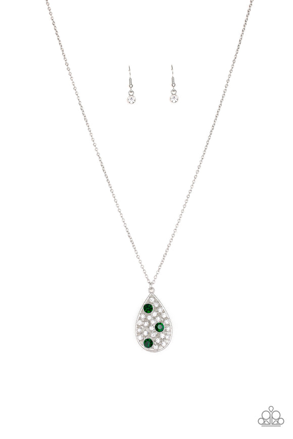 Paparazzi Sparkle All The Way - Green Rhinestones - Teardrop Pendant - Necklace and matching Earrings - Lauren's Bling $5.00 Paparazzi Jewelry Boutique