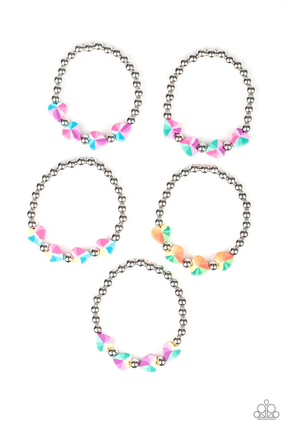 Paparazzi Starlet Shimmer Bracelets - 10 - Hearts in Pink, Green, Purple, Yellow, Orange, Green and Blue