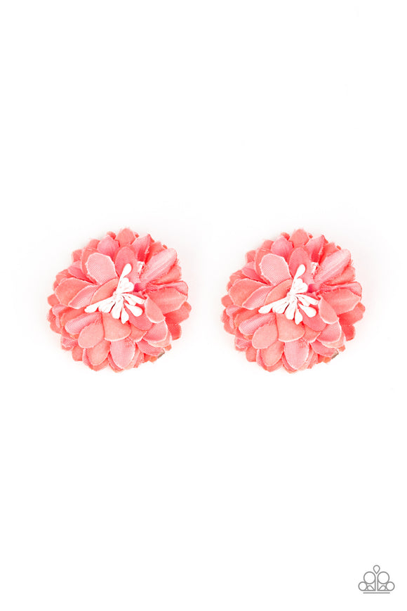 Paparazzi Tasteful In Tulips - Orange / Coral - Pair of Hair Clips