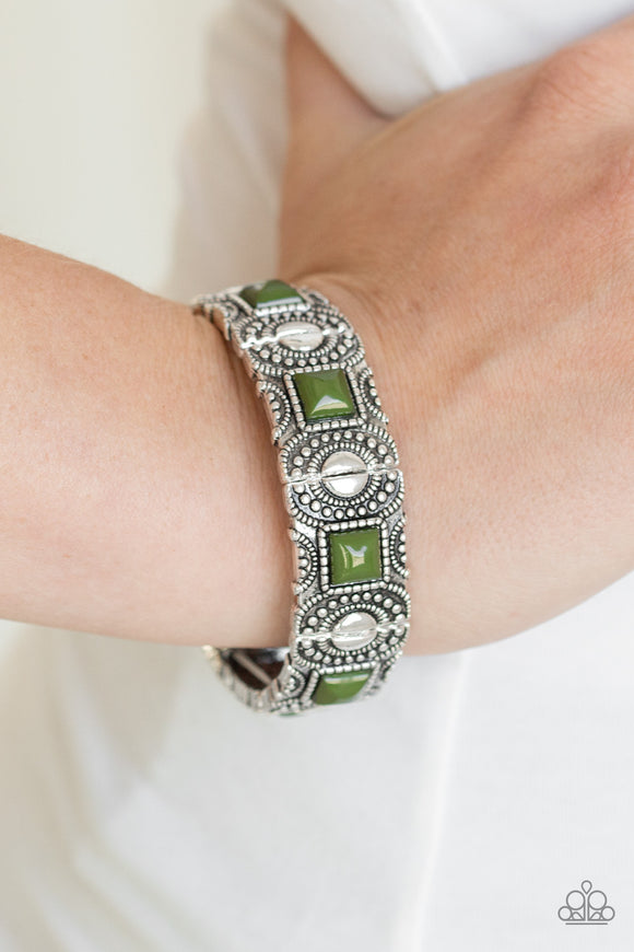 Paparazzi Tribal Trailblazer - Green - Studded Silver Frames - Stretchy Band Bracelet - Lauren's Bling $5.00 Paparazzi Jewelry Boutique