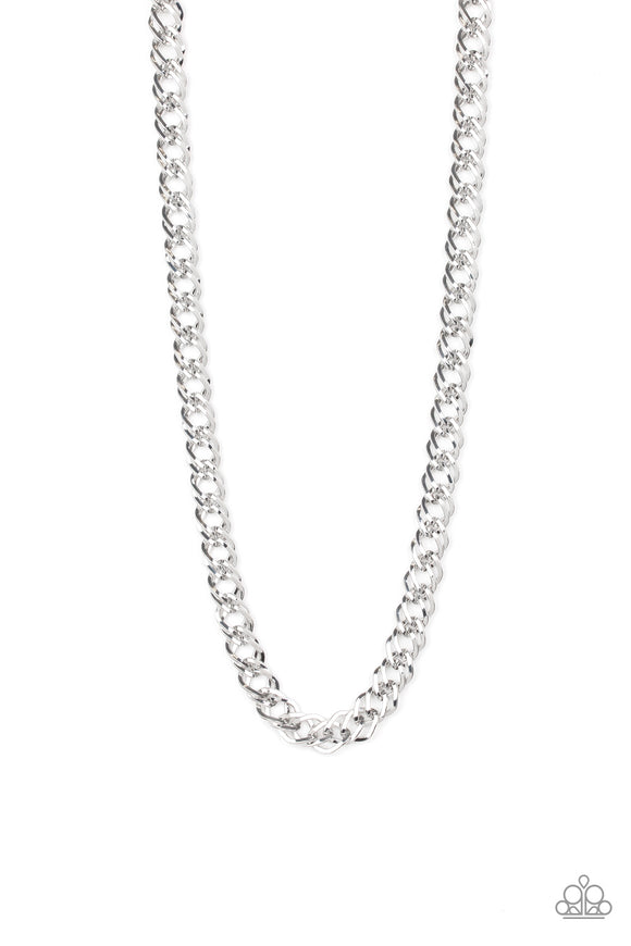 Paparazzi Undefeated - Silver - Double Links - Bold Silver Chain Necklace - Men's Collection - Lauren's Bling $5.00 Paparazzi Jewelry Boutique