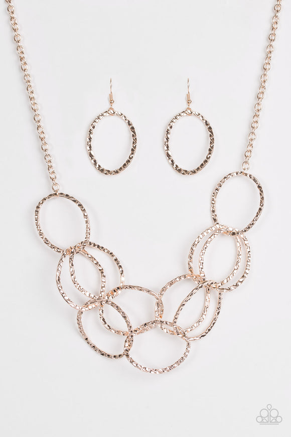 Paparazzi Circus Royale - Rose Gold Necklace and matching Earrings - Lauren's Bling $5.00 Paparazzi Jewelry Boutique
