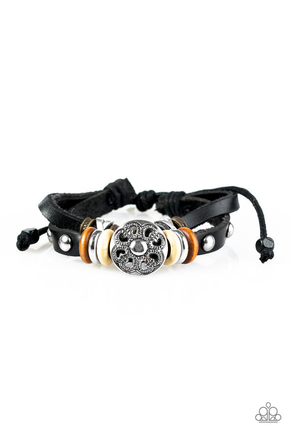 Happy Hiker - Black Bracelet - Lauren's Bling $5.00 Paparazzi Jewelry Boutique