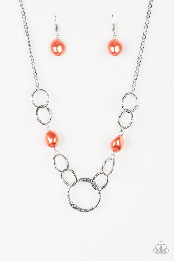 Paparazzi Lead Role - Orange - Pebbles - Hammered Silver Rings - Necklace and matching Earrings - Lauren's Bling $5.00 Paparazzi Jewelry Boutique