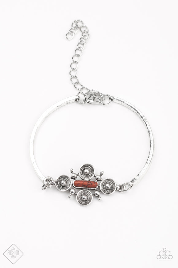 Paparazzi Mesa Flower Bracelet - Brown (Chili Oil) - Fashion Fix Exclusive