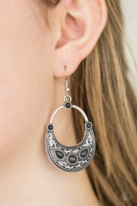 Paparazzi Paleo Paradise - Black - Stones - Silver Hammered Teardrop Earrings - Lauren's Bling $5.00 Paparazzi Jewelry Boutique