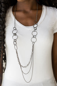 Paparazzi RING Down The House - Black - Gunmetal Chains - Necklace & Earrings - Lauren's Bling $5.00 Paparazzi Jewelry Boutique