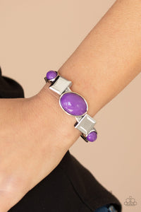 Paparazzi Abstract Appeal - Purple - Oval Beads - Antiqued Silver - Hinged Bracelet