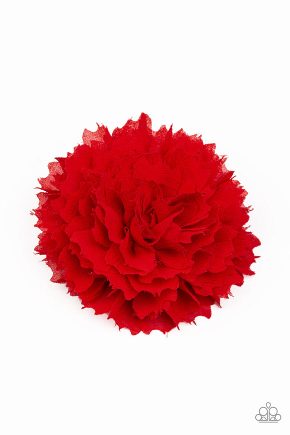 Paparazzi Bloom-tastic - Red - Scalloped Petals - Hair Clip / Bow