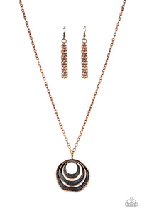 Paparazzi Breaking Pattern - Copper - Hammered Hoops - Necklace and matching Earrings - Lauren's Bling $5.00 Paparazzi Jewelry Boutique