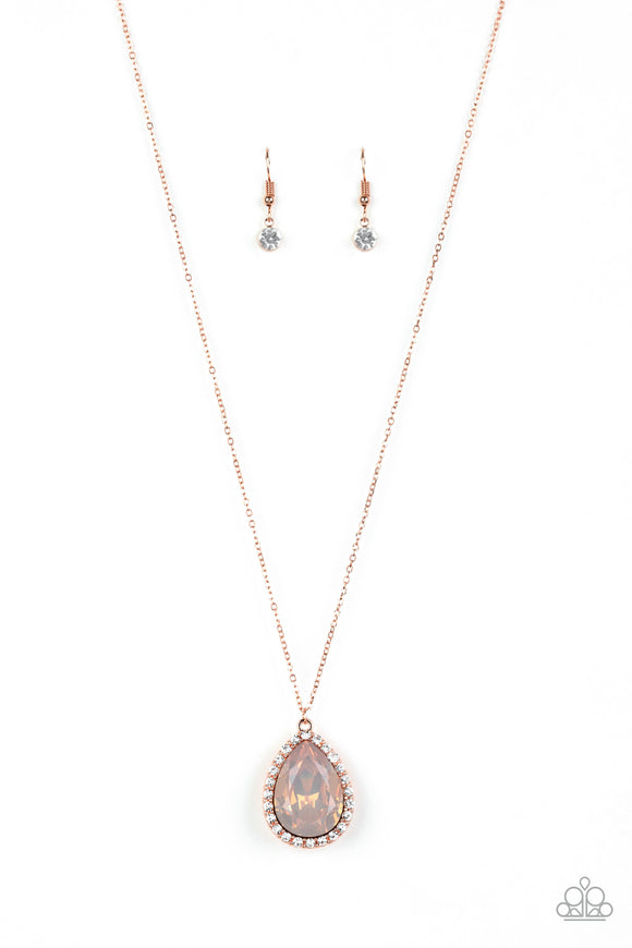 Paparazzi Come Of AGELESS - Copper - Peach Teardrop Gem - White Rhinestones - Necklace and matching Earrings