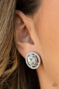 Paparazzi Cost A Fortune - White Gem - Rhinestones - Clip On Earrings - Lauren's Bling $5.00 Paparazzi Jewelry Boutique