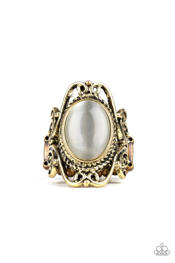 Paparazzi Fairytale Flair - Brass - White Cat's Eye Stone - Frilly Filigree - Ring