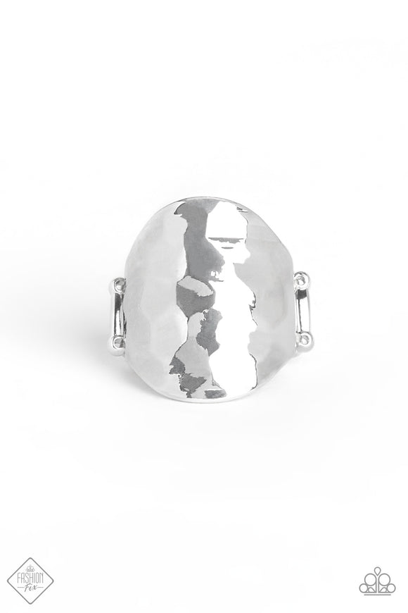 Paparazzi Hit The BRIGHTS - Silver - Hammered Ring - Fashion Fix / Trend Blend Exclusive August 2019