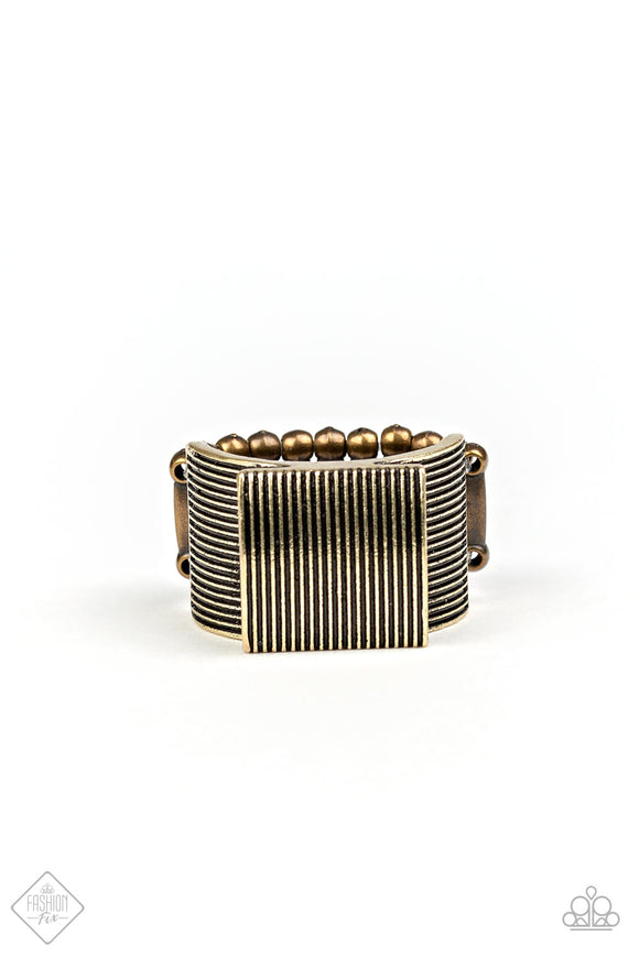 Paparazzi In GRATE Measure - Brass - Thick Band Ring - Fashion Fix Exclusive October 2019