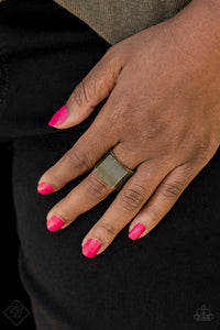 Paparazzi In GRATE Measure - Brass - Thick Band Ring - Fashion Fix Exclusive October 2019 - Lauren's Bling $5.00 Paparazzi Jewelry Boutique