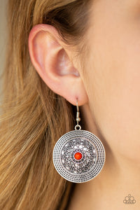 Paparazzi Karma Drama - Orange - Embossed Frilly Vine - Silver Earrings - Lauren's Bling $5.00 Paparazzi Jewelry Boutique