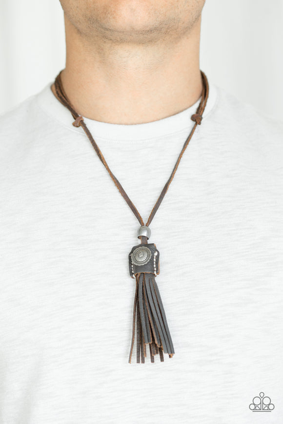 Paparazzi Old Town Road - Brown Leather - Tassels - Antiqued Silver Beads - Necklace - Lauren's Bling $5.00 Paparazzi Jewelry Boutique