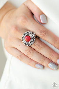 Paparazzi Regal Royal - Red - Pearly Bead - Studded Detail - Ring - Lauren's Bling $5.00 Paparazzi Jewelry Boutique