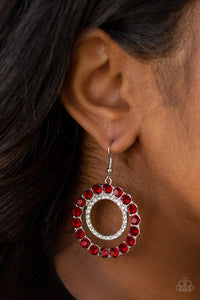 Paparazzi Spotlight Shout Out - Red Rhinestones - White Rhinestones - Silver Statement Earrings - Lauren's Bling $5.00 Paparazzi Jewelry Boutique