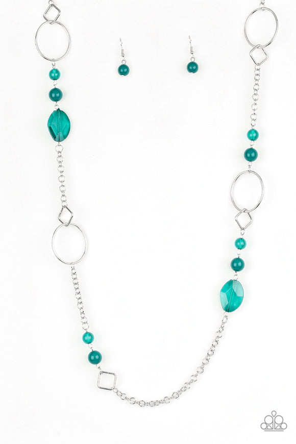 Paparazzi Very Visionary - Green Beads - Silver Chain Necklace and matching Earrings - Lauren's Bling $5.00 Paparazzi Jewelry Boutique