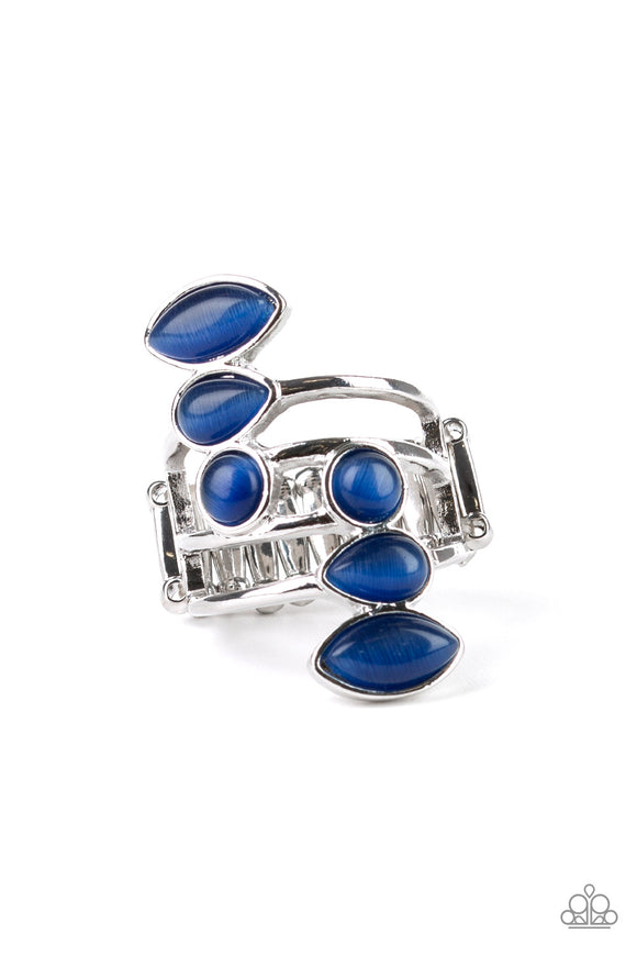 Paparazzi Wraparound Radiance - Blue - Cat's Eye Moonstone - Silver Band Ring