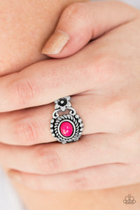 Paparazzi All Summer Long - Pink - Vibrant Bead - Silver Ornate Ring - Lauren's Bling $5.00 Paparazzi Jewelry Boutique