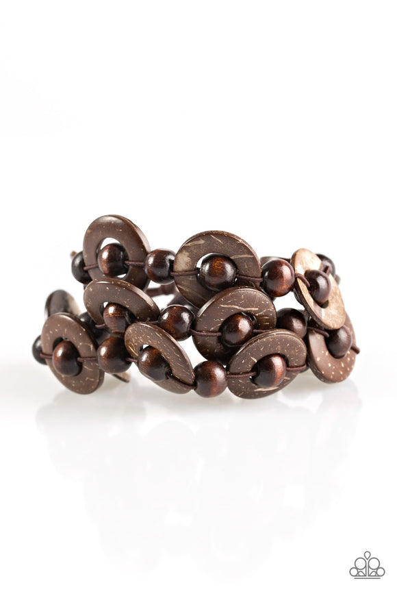 Paparazzi Cancun Catch - Brown Wooden Bracelet