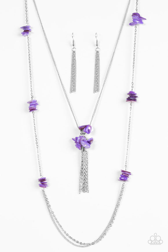 Paparazzi Cliff Cache - Purple Stone - Silver Necklace and matching Earrings - Lauren's Bling $5.00 Paparazzi Jewelry Boutique