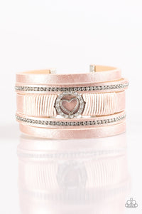 Paparazzi It Takes Heart - Pink Leather - White Rhinestones - Bracelet - Lauren's Bling $5.00 Paparazzi Jewelry Boutique