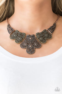 Paparazzi Mess With The Bull - Multi - Antiqued Brass and Copper Necklace & Earrings - Lauren's Bling $5.00 Paparazzi Jewelry Boutique