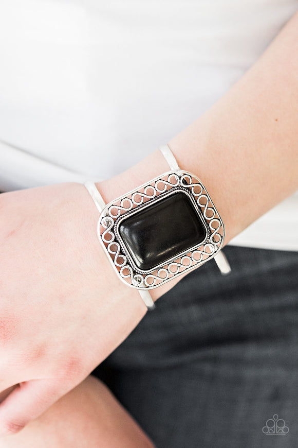 Paparazzi PLAINS and Simple - Black Stone - Silver Cuff Bracelet - Lauren's Bling $5.00 Paparazzi Jewelry Boutique