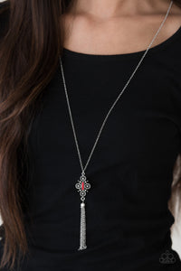 Paparazzi Sedona Skies - Red Bead - Silver Necklace & Earrings - Lauren's Bling $5.00 Paparazzi Jewelry Boutique