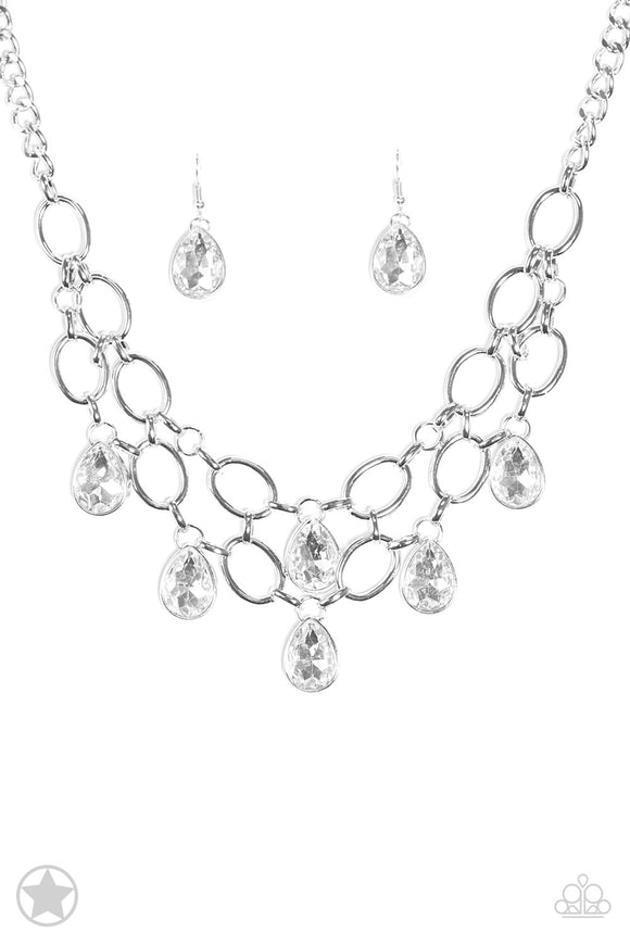Paparazzi Show-Stopping Shimmer - White Teardrop Rhinestones - Blockbuster Exclusive - Necklace!
