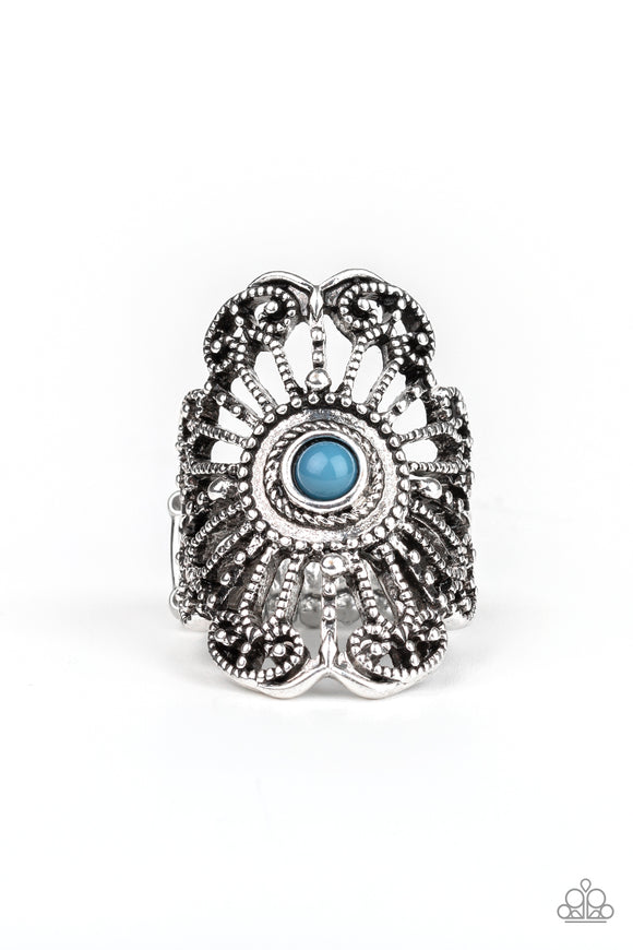 Paparazzi Adrift - Blue Bead - Silver Studded Details - Ring