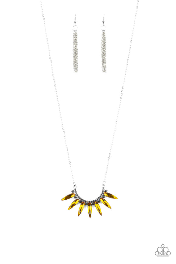 Paparazzi Empirical Elegance - Yellow Gems - Rhinestones - Silver Necklace and matching Earrings - Lauren's Bling $5.00 Paparazzi Jewelry Boutique