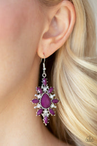 Paparazzi Glamorously Colorful - Purple Teardrop Beads - White Rhinestones - Earrings - Lauren's Bling $5.00 Paparazzi Jewelry Boutique