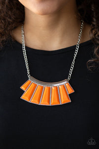 Paparazzi Glamour Goddess - Orange Tiger - Hammered Silver Plate - Necklace & Earrings - Lauren's Bling $5.00 Paparazzi Jewelry Boutique
